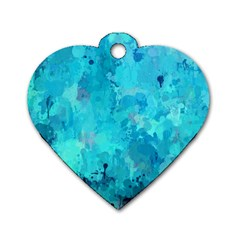 Splashes Of Color, Aqua Dog Tag Heart (one Side) by MoreColorsinLife