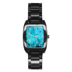 Splashes Of Color, Aqua Stainless Steel Barrel Watch by MoreColorsinLife