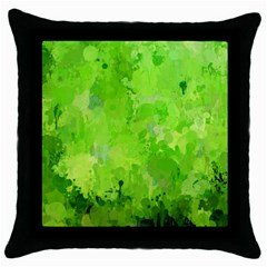 Splashes Of Color, Green Throw Pillow Cases (black)