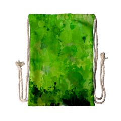 Splashes Of Color, Green Drawstring Bag (small) by MoreColorsinLife