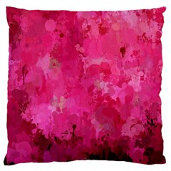 Splashes Of Color, Hot Pink Large Flano Cushion Cases (one Side)  by MoreColorsinLife