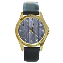 Grey Fence Round Gold Metal Watches
