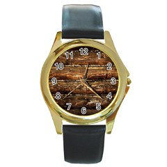 Dark Stained Wood Wall Round Gold Metal Watches by trendistuff