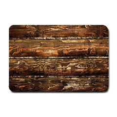 Dark Stained Wood Wall Small Doormat  by trendistuff