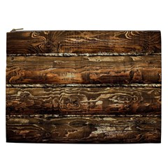 Dark Stained Wood Wall Cosmetic Bag (xxl)  by trendistuff