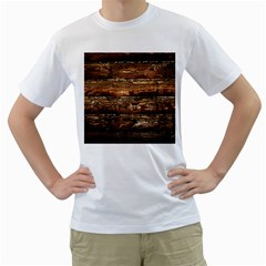 Dark Stained Wood Wall Men s T Shirt (white)  by trendistuff