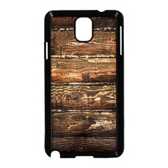 Dark Stained Wood Wall Samsung Galaxy Note 3 Neo Hardshell Case (black) by trendistuff