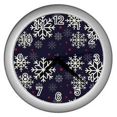 Snowflake Wall Clocks (silver)  by Kathrinlegg