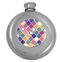 Dots And Squares Round Hip Flask (5 Oz) by Kathrinlegg