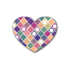 Dots And Squares Rubber Coaster (heart)