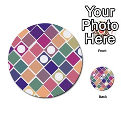 Dots And Squares Multi Purpose Cards (round)  by Kathrinlegg