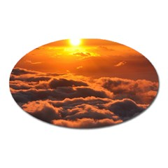 Sunset Over Clouds Oval Magnet by trendistuff