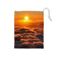 Sunset Over Clouds Drawstring Pouches (medium)  by trendistuff