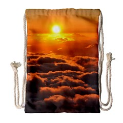 Sunset Over Clouds Drawstring Bag (large) by trendistuff