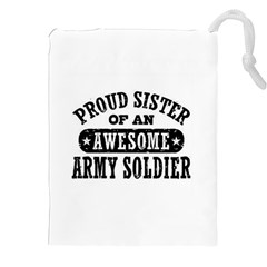 Proud Army Soldier Sister Drawstring Pouch (xxl) by allthingseveryday