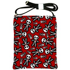 Cute Skeleton Pattern Shoulder Sling Bag by Ellador