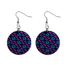 Pink And Blue Shapes Pattern 1  Button Earrings by LalyLauraFLM