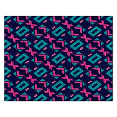 Pink And Blue Shapes Pattern Jigsaw Puzzle (rectangular) by LalyLauraFLM