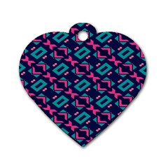 Pink And Blue Shapes Pattern Dog Tag Heart (two Sides) by LalyLauraFLM
