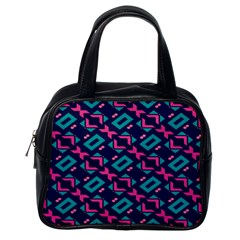 Pink And Blue Shapes Pattern Classic Handbag (one Side) by LalyLauraFLM