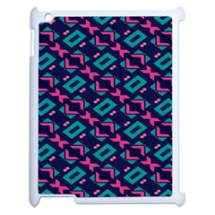 Pink And Blue Shapes Pattern Apple Ipad 2 Case (white) by LalyLauraFLM