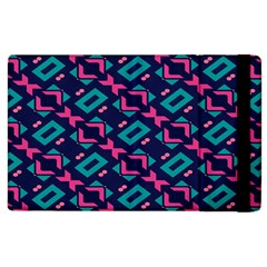 Pink And Blue Shapes Pattern Apple Ipad 3/4 Flip Case by LalyLauraFLM