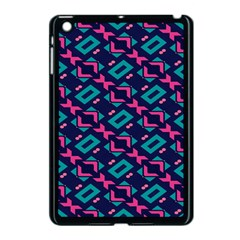 Pink And Blue Shapes Pattern Apple Ipad Mini Case (black) by LalyLauraFLM