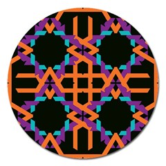 Juxtaposed Shapes Magnet 5  (round) by LalyLauraFLM