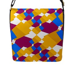 Layered Shapes Flap Closure Messenger Bag (l) by LalyLauraFLM