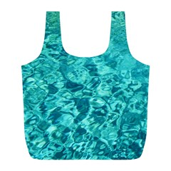 Turquoise Water Full Print Recycle Bags (l)  by trendistuff
