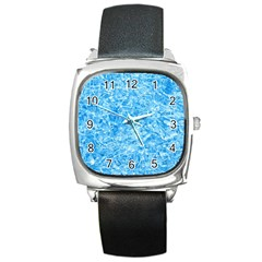 Blue Ice Crystals Square Metal Watches by trendistuff