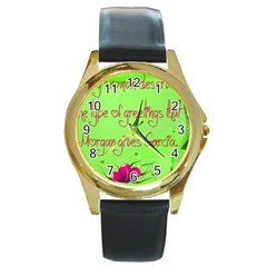 Garcia s Greetings Round Gold Metal Watches