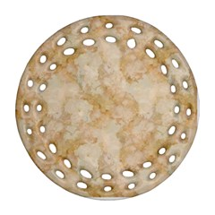 Tan Marble Round Filigree Ornament (2side)