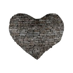 Stone Wall Grey Standard 16  Premium Heart Shape Cushions by trendistuff