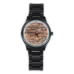 Stone Wall Brown Stainless Steel Round Watches by trendistuff