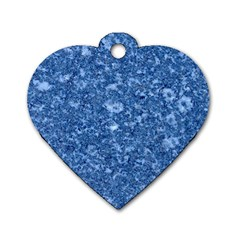 Marble Blue Dog Tag Heart (one Side)