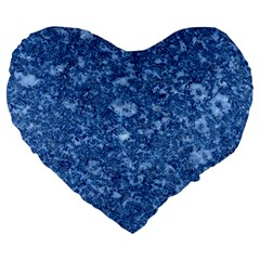 Marble Blue Large 19  Premium Heart Shape Cushions by trendistuff