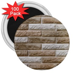 Light Brick Wall 3  Magnets (100 Pack) by trendistuff