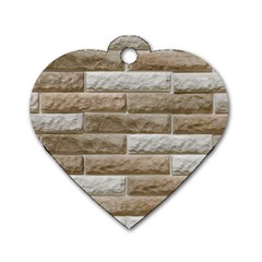 Light Brick Wall Dog Tag Heart (one Side) by trendistuff