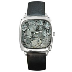 Grey Stone Pile Square Metal Watches by trendistuff