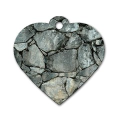 Grey Stone Pile Dog Tag Heart (one Side) by trendistuff
