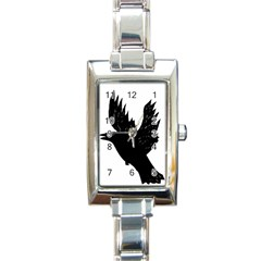 Crow Rectangle Italian Charm Watches by JDDesigns