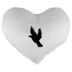 Crow Large 19  Premium Heart Shape Cushions by JDDesigns