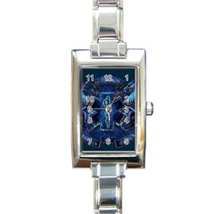 Ems Blue Rectangle Italian Charm Watches