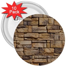 Block Wall 1 3  Buttons (10 Pack)  by trendistuff