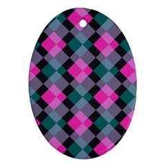Argyle Variation Oval Ornament (two Sides) by LalyLauraFLM