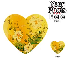 Wonderful Soft Yellow Flowers With Dragonflies Multi Purpose Cards (heart)  by FantasyWorld7