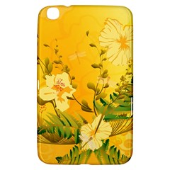 Wonderful Soft Yellow Flowers With Dragonflies Samsung Galaxy Tab 3 (8 ) T3100 Hardshell Case  by FantasyWorld7