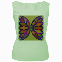 Fly Mandala Women s Green Tank Tops by Valeryt