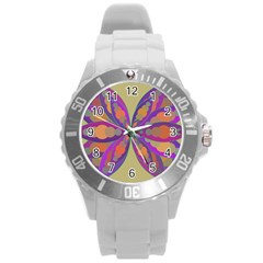 Fly Mandala Round Plastic Sport Watch (l) by Valeryt